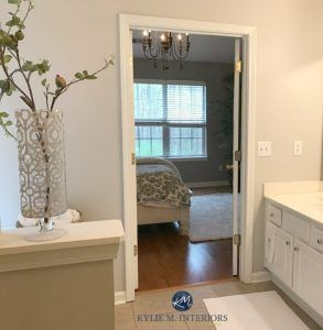 Sherwin Williams Agreeable Gray In A Bathroom With White Trim Kylie M Interiors E Design Online C Brown Bathroom Decor Agreeable Gray Gray And White Bathroom