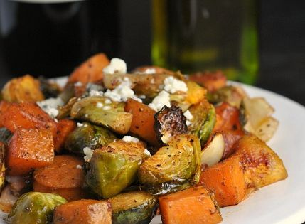 Roasted Sweet Potatoes, Brussels Sprouts, and Chicken Sausage ...