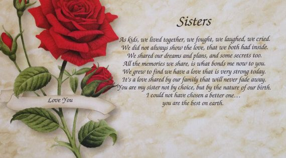 I Hate My Mom Poem: Personalized Sisters Red Rose Art Print With Poem-by