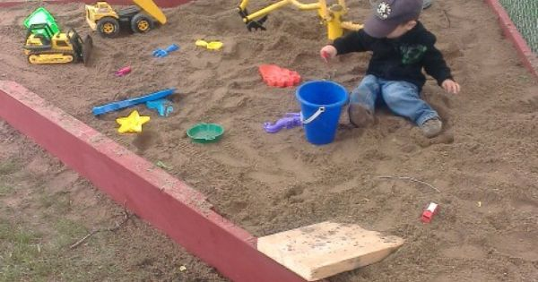 Our idea for a triangle shaped sandbox. Our son loves it