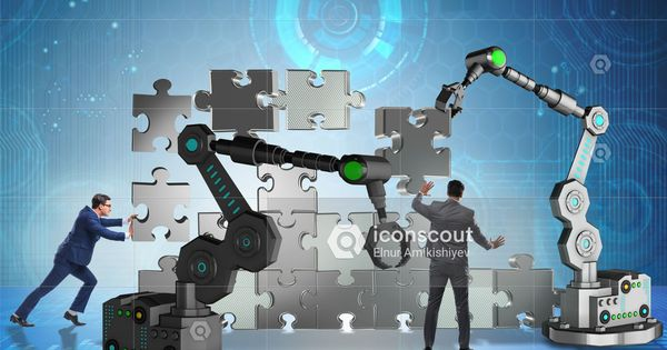 Premium Businessman Doing Jigsaw Puzzle With Robotic Arm Photo Download In Png Jpg Format Jigsaw Puzzles Robot Arm Business Photos