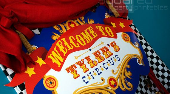 Circus Birthday Party backdrop by Squared Party Printables circusparty carnival birthday party