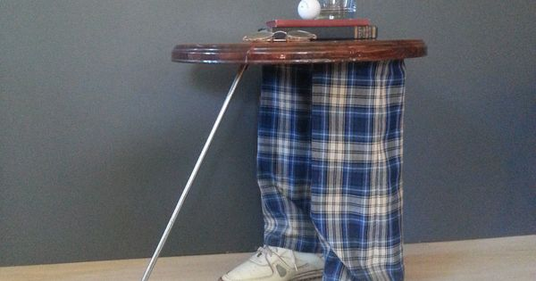 Side table accent table vintage whimsical golfer s Golf decor for home
