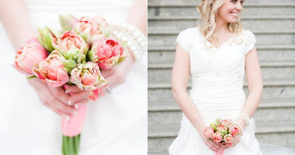 coral peony tulips bridal bouquet utah wedding florist calie rose