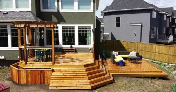 this cedar deck features two large tiers providing more than 500 square feet of great outdoor. Black Bedroom Furniture Sets. Home Design Ideas