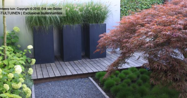 Moderne design tuin hardhouten vlonder festuca hortensia japanse esdoorn lavendel polyester - Bamboe in bakken terras ...