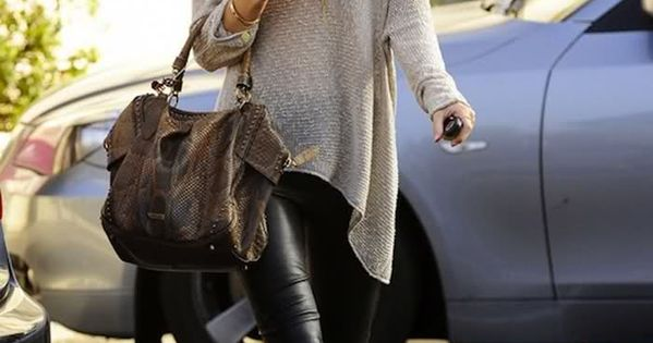 grey sweater + black leather pants + brown hat + brown bag