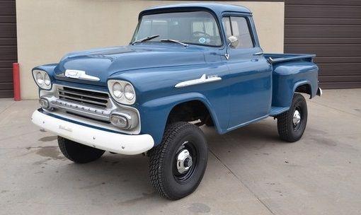 Big Blue 1958 Chevrolet Apache 3100 Napco 4x4 Trucks Chevy Trucks Chevy Pickup Trucks