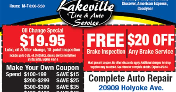 Get An 19 95 Oilchange Free Brake Inspection And 20 Off Any Brake Servicewith This Deal From Lakeville Oil Change Auto Service Brake Inspection