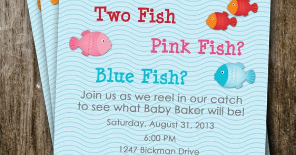 One fish two fish gender reveal invitation party ideas for Fishing gender reveal