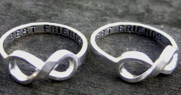 Hand Stamped Best Friends Infinity Rings by donnaOdesigns on Etsy, $199.95...you're welcome,