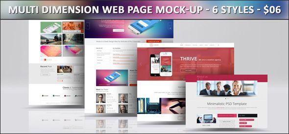 Web Page Mock Up Bundle V1 Mockup Indesign Templates Print Layout