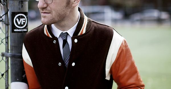 Tailored Varsity Jacket and Tie. men fashion style glasses hair