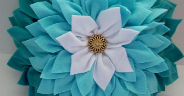 Teal And White Dahlia Flower Pillow 3d Flower Pillow Home Decor Dahlia Pillow Shades Of Teal And
