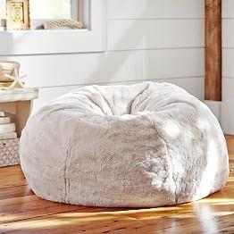 Ivory Polar Bear Faux Fur Beanbag Bean Bag Chair Comfy Chairs