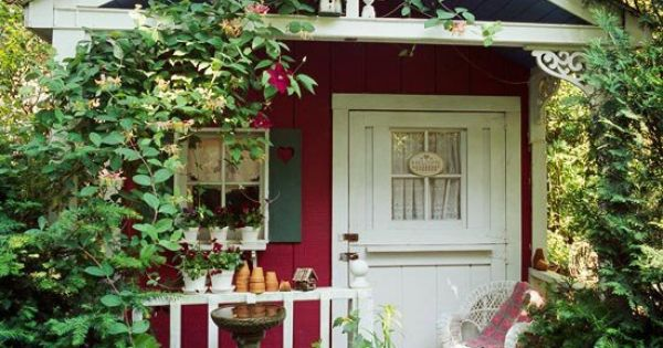 Tiny cute little red victorian cottage i love for Victorian garden shed designs