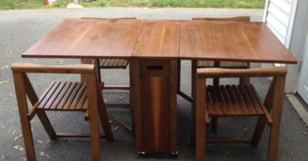 Danish Mid Century Modern Drop Leaf Dining Table Self Storing