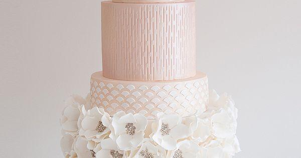 Elegant Pastel Pink Jeweled Encrusted Flowers Wedding Cake by Coco Cakes Australia