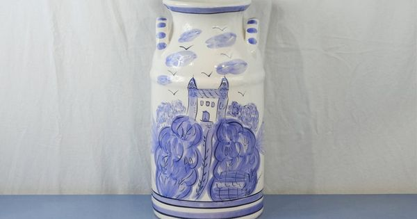 Vintage Pottery Jug Large Milk Can French Villa Floor Vase Etsy Pottery Jug Vintage Pottery Floor Vase