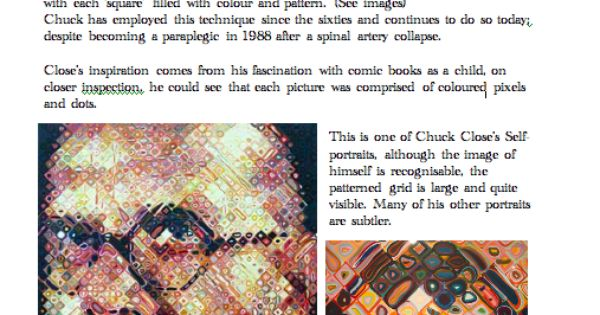 chuck close artist fact sheet blue sparrrows art club art education essentials pinterest. Black Bedroom Furniture Sets. Home Design Ideas