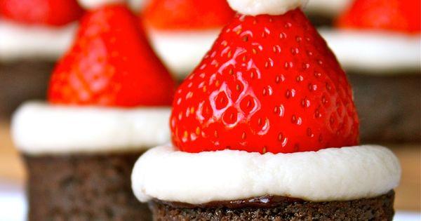 A festive way to dress up brownie bites: Santa Hat Brownies.