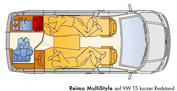Grundriss Reimo Multistyle Auf Vw T5 Kurzer Radstand Volkswagen Transporter Campingbus Volkswagen