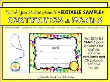 Editable Sample End Of Year Or Anytime Student Awards Student Awards Student Awards Free School Certificates