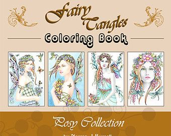 Fairy Tangles Printable Coloring Book Pages Bulk Collection 2 Etsy Printable Coloring Book Coloring Books Coloring Book Pages