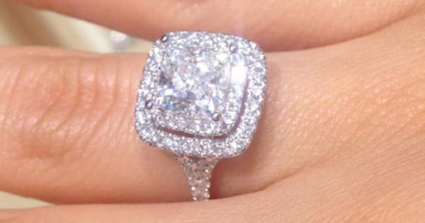 Cushion Cut Double Halo Ring Absolute Dream Wedding Ring