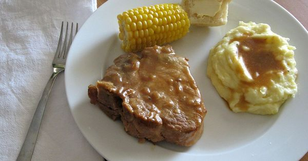 Slow Cooker Pork Chops and Gravy •4 Thick Bone-in (or thick boneless)P