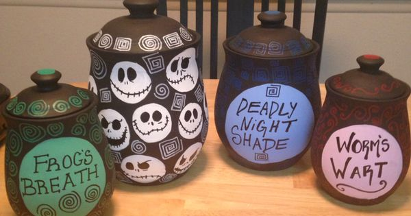 Tim Burton inspired canisters I made | Nightmare before ...