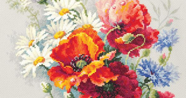 """/""""Blooming Mallow/"""" Counted Cross Stitch Kit PANNA C-1759"""