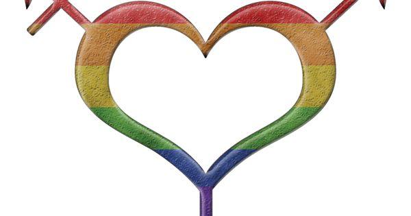 Heart Shaped Gender Neutral Symbol In Rainbow Pride Flag