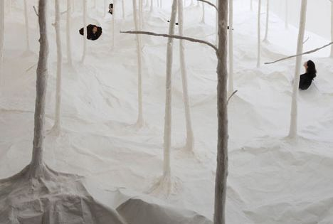 "Japanese artist Takashi Kuribayashi - paper art installation ""Wald aus Wald,"" German"