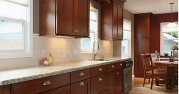 off white subway tiles and cherry cabinets best granite countertops