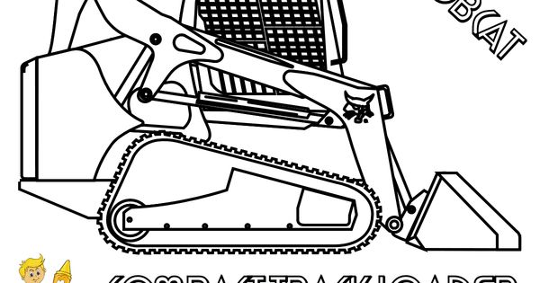 Coloring pages of trucks or backhoes ~ Coloring Bobcat Track Loader at YesColoring | farm ...