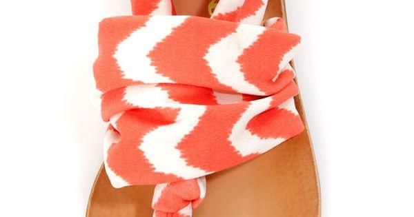 Dirty Laundry Beka 2 Coral Zigzag Stretch Sandal...Very Cute Sandal...