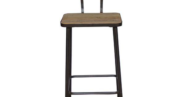 Barkruk houten zitting en metalen leuning is gemaakt van metaal en heeft een houten zitting en - Houten keuken en metaal ...