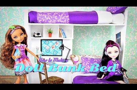 How To Make A Doll Bunk Bed Plus Desk Youtube Doll