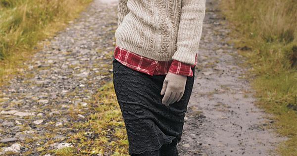 Fall style: Red plaid shirt under ivory cable-knit sweater with black jeans,