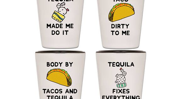 Tequila Shot Glasses Taco Shot Glasses Tacos And Tequila Etsy In 2020 Shot Glasses Tequila Shots Tacos And Tequila
