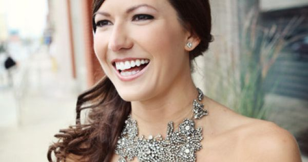 This bride chose a Vera Wang statement necklace for her special jewelry!