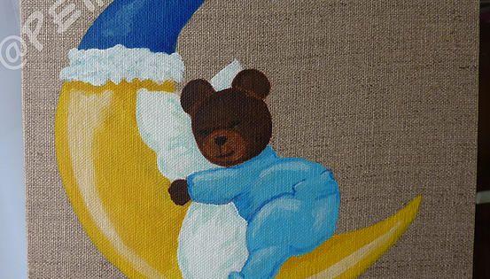 ourson dans la lune sur toile de lin peinture acrylique d co chambre de b b d couvrez les. Black Bedroom Furniture Sets. Home Design Ideas