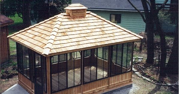 In Vogue Single Roof Rectangle Enclosed Gazebo With Wooden: Cool Rectangular Screened Gazebo... Would Paint Wood White