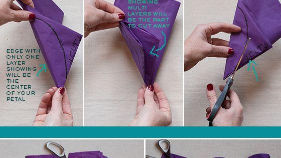 DIY Tissue Paper Flower, Gift Wrap Topper, Tutorial, DIY - flowers garland,