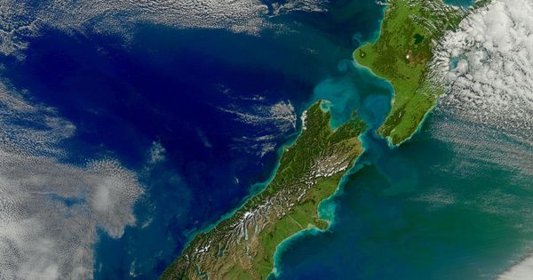 New Zealand from Space. Sediment runoff from heavy rains shows up as