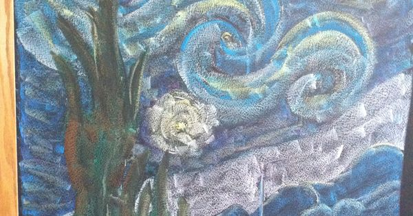 Age 12 ~ Astronomy ~ chalkboard drawing ~ Starry Night ...