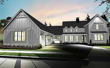This 4 Bedroom Modern Day Farmhouse Plan Gives You A Master Down