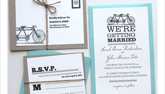 Tandem Bike Free Printable Wedding Invitations Templates