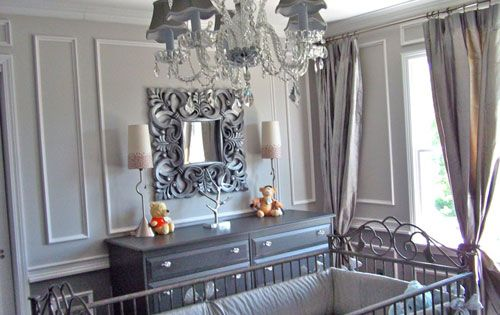 Glamorous gray baby nursery with chandelier. I love this baby room!